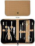 Trois Epées - Trousse manucure et pédicure 12 pièces, Matériau à la mode de haute qualité beige-blanc, Qualité: Fabriqué à Solingen, Allemagne, depuis 1927