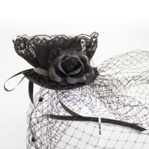 "Linda Ann's Widow/goth Black Lace & Rose Fascinator 5"" Oval Top Hat, Birdcage Veil"