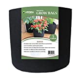 Grow Bags Fabric Planter Raised Bed Aeration Container 5 Pack Black (5 Gallon)