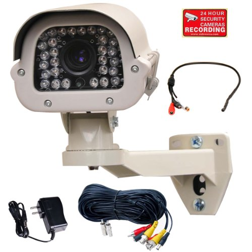 VideoSecu Built-in Sony Effio Ex-view CCD Outdoor IP66 700TVL IR Bullet Security Camera Day Night Vision 9-22mm Varifocal 30 Infrared LEDs WDR Zoom High Resolution Home CCTV Surveillance with Power Supply, Preamp Microphone and Extension Cable CQR