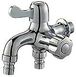 水栓 2口 蛇口 横水栓 ワンタッチ 継ぎ手 洗濯機 ホース や ガーデニング に