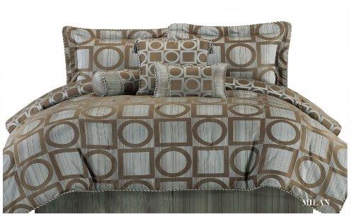 Heirloom Jacquard Milan 7-Piece Reversible Queen Bedding Set, Blue/Brown front-636672