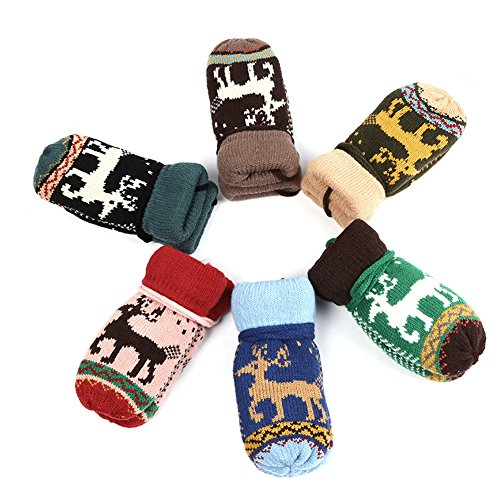 Stebcece Children Boys Girls Baby Gloves Autumn Winter Warm Deer Mittens Christmas Gift