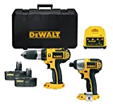 Dewalt 18v Twin Pack. DC725 18v Combi Drill and DC825 18v Impact Driver with 2 x DE9098 Ni-Cd Batteries and DE9116 1 Hour Charger In 2 Hard carry Cases