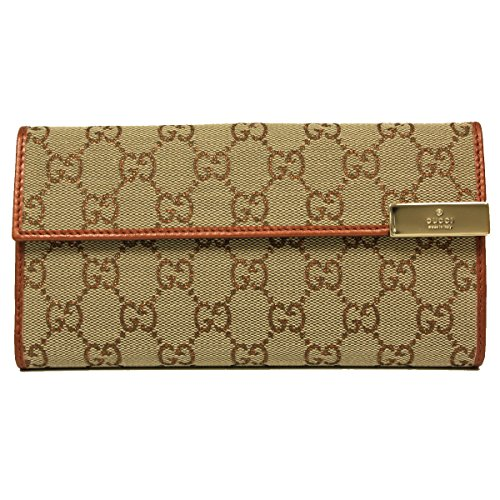 Gucci Metallic Orange Leather and Canvas Snap Wallet
