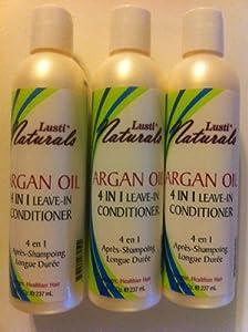 Lusti Naturals Organics Argan Oil 4 in 1 Leave In Conditioner 8 Oz (3 Bottles)