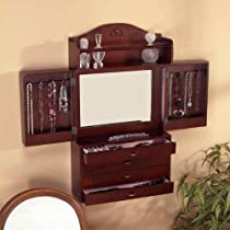 Hot Sale SEI Cherry Wall-Mount Jewelry Armoire