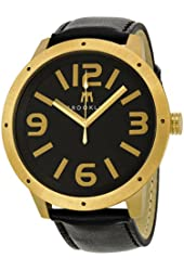 Brooklyn Watch Company De Kalb Black Dial Gold Tone Steel and Black Leather Mens Watch 1950GBG