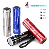 Pack of 4, BYBlight Super Bright 9 LED Mini Aluminum Flashlight with Lanyard, 4 Assorted Colors: Black, Blue, Red, Silver, Best Tools for Camping, Hiking, Hunting, Backpacking, Fishing and BBQ