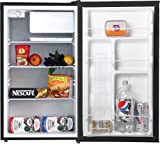 Midea HS-160R Compact Single Reversible Door Refrigerator with Freezer, 4.4 Cubic Feet, Black