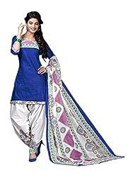 RR Fashion Women's Cotton Unstitched Dress Material (1006-blue)