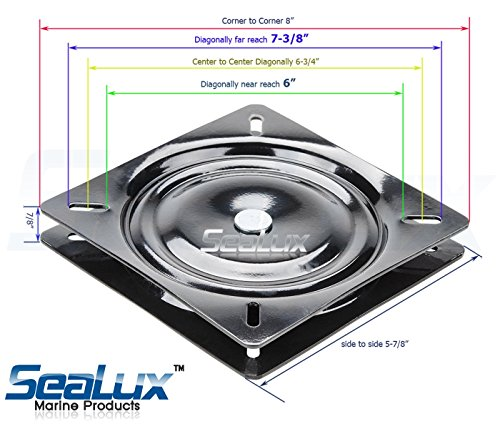 SeaLux Universal Heavy Duty 360 degree Seat Swivel Base Mount Plate for Bar Stool, Chair, boat or van pilot seat
