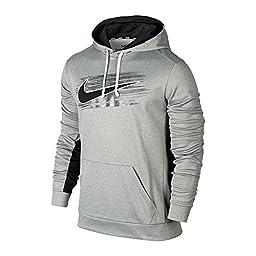 New Nike Men\'s KO Swoosh Applique Pullover Hoodie Dk Grey Htr/Black/Black Small