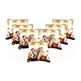 Car Vastra Digital Print Indian Woman-II Cushion Covers -Set Of 7 (12x12 Inches)