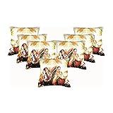 Car Vastra Digital Print Indian Woman-II Cushion Covers -Set Of 7 (12x12 Inches)