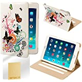 32nd® Design book wallet PU leather case cover for iPad Mini (original and iPad Mini 2 with retina display) + screen protector and cloth - Colour Butterfly