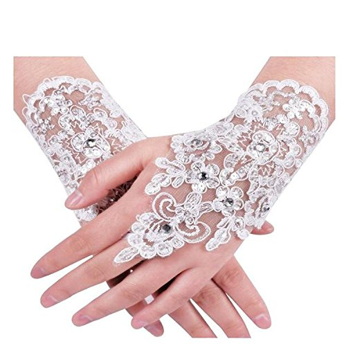 EverLove Lace Fingerless Rhinestone Brides Wedding Gloves (Style1, White)