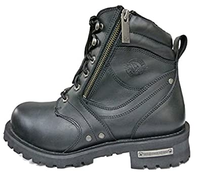 Milwaukee Leather Men's Motorcycle Boot with Laces and Zipper