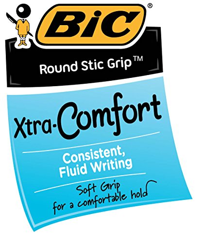 BIC Round Stic Grip Xtra Comfort Ball Pen, Medium (1.2 mm), Purple, 12-Count