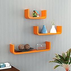 DecorNation MDF Floating Wall Shelf - Set of 3 U Shape Round Corner MDF Wall Racks - Orange