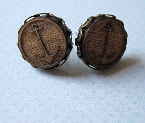 nautical-anchor-wood-stud-earrings-antiqued-gold-tone