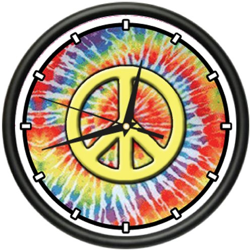 HIPPIE Wall Clock peace symbol sign grateful dead gift