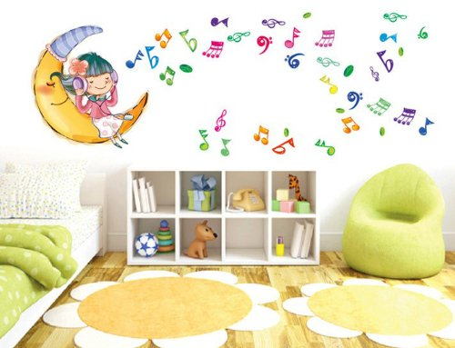 Toprate(Tm) Little Girl Listening Music Living Room Bedroom Art Design Removable Diy Mural Wall Sticker Decal For Nursery Baby Girls Kid'S Children'S Room front-13774