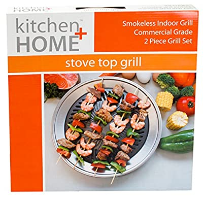 Stove Top Smokeless Grill Indoor BBQ - High Quality Stainless Steel with Double Coated Non Stick Grilling Surface from Kitchen+Home