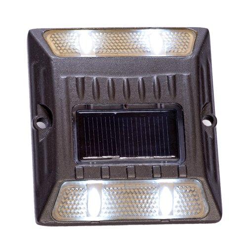 White Aluminium Alloy Solar Road Stud Path Deck Dock Led Lights (8 Pack)
