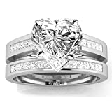 1.45 Carat t.w. 14k White Gold Channel Set Princess Cut Diamond Engagement Ring with a 1 Ct Forever Classic Heart Moissanite Center