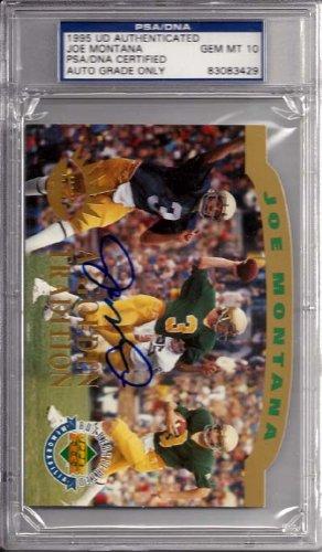 Joe Montana Autographed 1995 Upper Deck Jumbo Card Notre Dame Fighting Irish Gem 10 Auto PSA/DNA Stock #6395