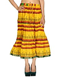 Trendy Casual Skirt Cotton Yellow Floral Printed For Her By Rajrang