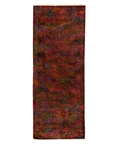 "Darya Rugs Transitional Hand-Knotted Rug, Orange, 3' x 7' 10"" Runner"