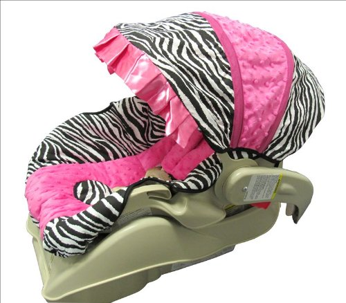 Hot Pink Minky And Zebra Infant Car Seat Cover Set-Version B