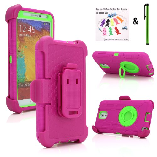 NEW Supper Rugged Armor Hybrid Hard and Soft Case w/ Belt Clip Holster for Samsung Galaxy Note 3 III (All Versions) + + One Free Stylus + One FishBone Earphone Cord Organizer in Random Color (Hot Pink