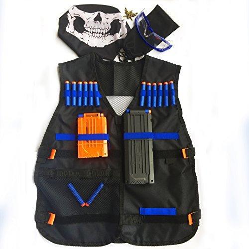 GFU Kit composto da una veste tattica + 16 dardi blu + caricatore a ricarica rapida da 11 dardi + caricatore a ricarica rapida da 5 dardi + Occhiali Protettivi + Maschera protettiva + Piccola Collana per i giocatori di nerf N-strike Serie Elite.