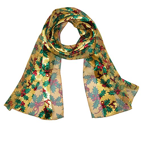 CTM® Womens Long Satin Christmas Holiday Holly Leaves Scarf, Gold