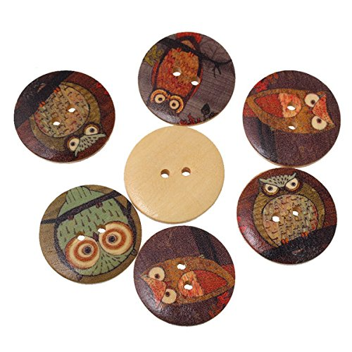 HOUSWEETY 50PCs Wooden Buttons Owl Cartoon Pattern Fashion 2-hole Sewing Scrapbook DIY (Buttons For Clothes compare prices)