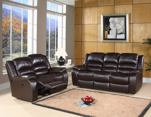Picture of Abbyson Living Brownstone Reclining Leather Sofa and Loveseat Set in Dark Brown By Abbyson Living (CH-8801-BRN-3/2) (Sofas & Loveseats)