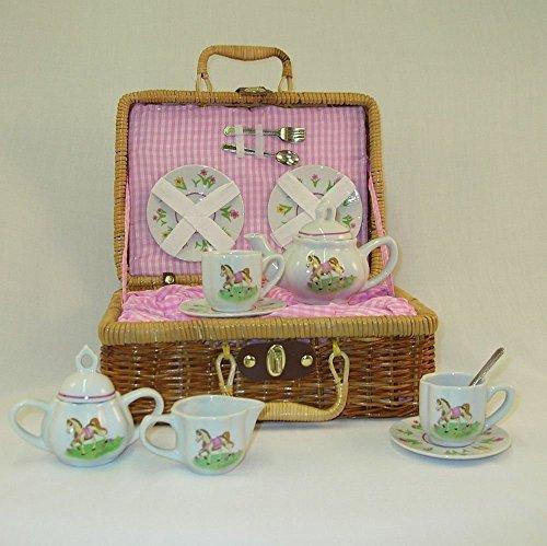 Delton - Large Porcelain Tea Set In Basket - Pony