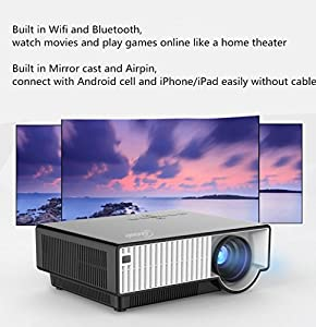 Taotaole 2800 Lumens Hd LCD LED Wireless Wifi Android 4.42 Bluetooth Smart Video Projectors Multimedia Home Projector with HDMI/USB/AV/VGA, 1280x800 Support 1080p by Taotaole