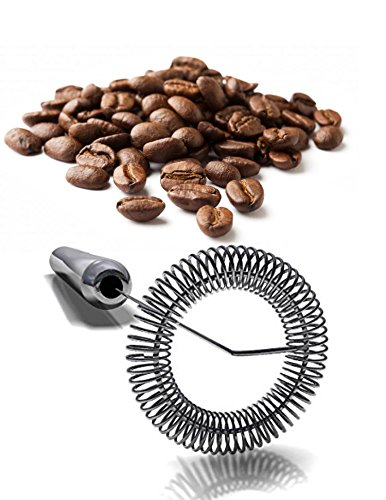 ★ The #1 Rated Stainless Steel Milk Frother ★ Best One Touch Handheld Milk Frother- Coffee Latte, Cappucino- Creamy Milk in Seconds- Nespresso Milk Foamer Wand, Bonus Mounting Bracket