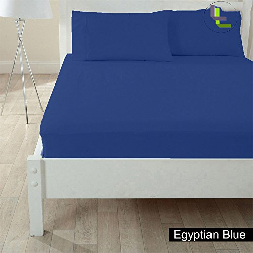 Bed Bee Full 300Tc Wonderful 1Pc Fitted Sheet Solid & 2 Pillowcases(Pocket Size: 26 Inches) Egyptian Blue Solid 100% Egyptian Cotton front-81195