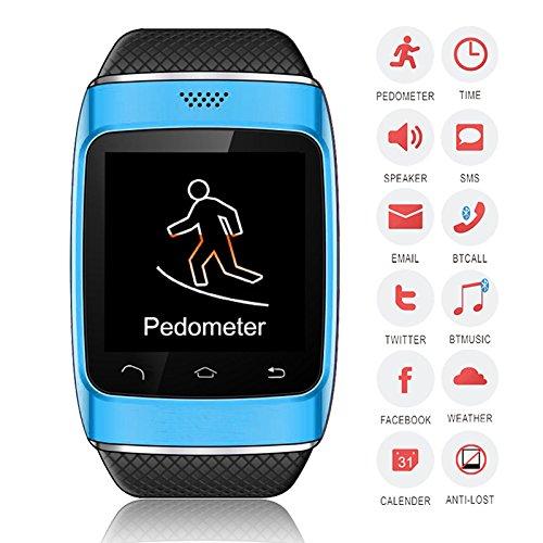 Bellstone 240×240 1.54インチ 静電容量式タッチスクリーン搭載 メンズ・レディース 兼用 多機能ブルートゥース スマートウォッチ smart watch タッチスクリーン Bluetooth 腕時計ブレスレット ハンズフリー通話・音楽プレーヤー・着信知らせ・時刻表示・置き忘れ防止・録音・目覚しい時計・万歩計多機能腕時計機能付き!iPhone4 5 5S 5C 6、HTC ONE M8 Galaxy S5 S4 などのAndroid、iPhoneに対応可! (ブルー)