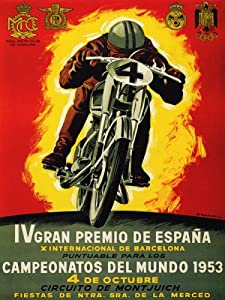 MOTORCYCLE RACE BIKE GRAND PRIX 1953 CAMPEONATOS DEL MUNDO SPAIN LARGE VINTAGE POSTER REPRO