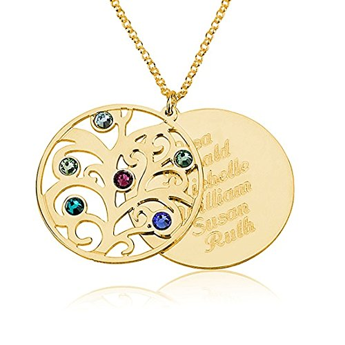 Personalized Family Necklace Birthstones Pendant- Birthstone Necklace - Custom Made With Any Names (18 Inches)