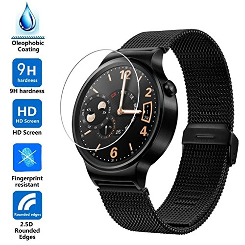 Weston Jewelers(TM) 2.5D Round Edge/99% Clarity/0.3mm/9H Hardness/Shatter-Proof/Bubble Free, Glass Screen Protector for Huawei Watch (Plate 42mm) (Weston Screen compare prices)