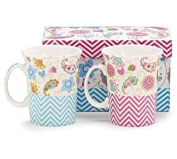 Set of 2 Paisley and Chevron China Coffee Mugs/cups with Decorative Gift Box