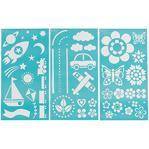 "Plaid:Craft Martha Stewart Large Stencils 3 Sheets/Pkg-Playroom 8.75""X16.75"" 46 Designs front-9217"