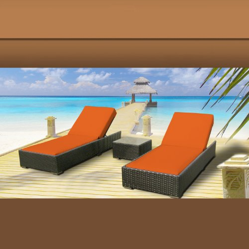 Luxxella Outdoor Patio Wicker Furniture 3 Pc Chaise Lounge Set ORANGE